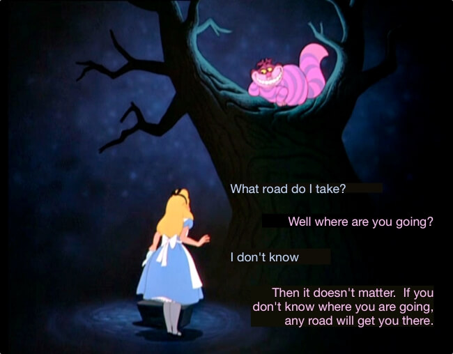 The Cheshire Cat Problem, what road to take, when you don't have a vision