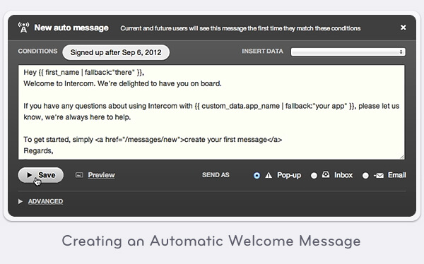 Automatic Welcome Message In App
