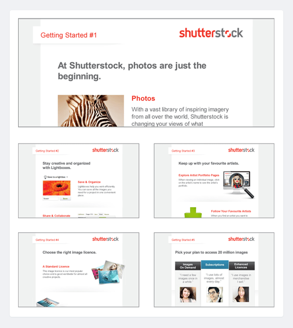 Shutterstock onboarding email