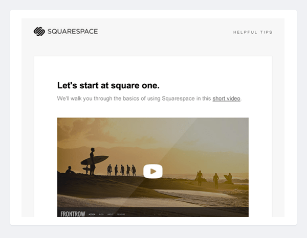Squarespace onboarding email