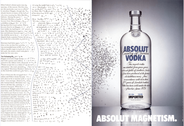 Absolut Vodka's Absolut magnetism ad