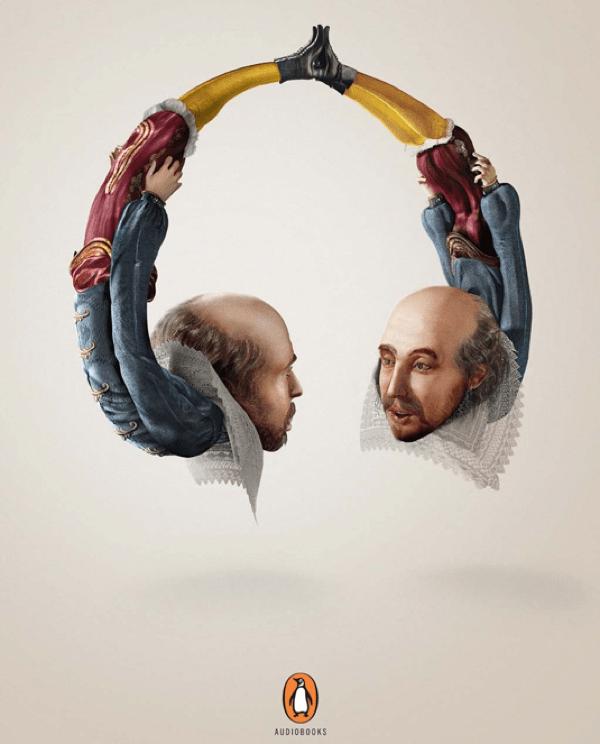advert for Penguin audio books featuring William Shakespeare