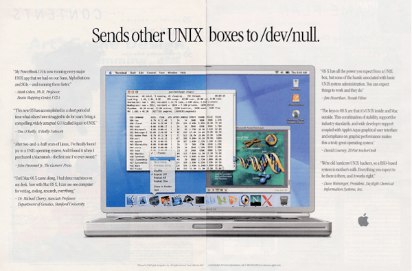 Print ad for the first Macbooks using OSX referring to their Unix roots