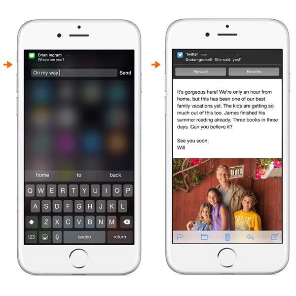 iOS screens with interactive notifications, future of apps
