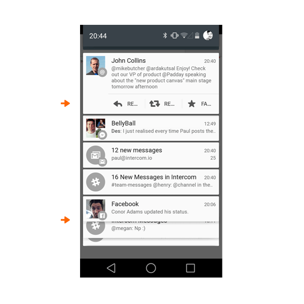 Android screen with interactive notifications in independent cards, future of apps