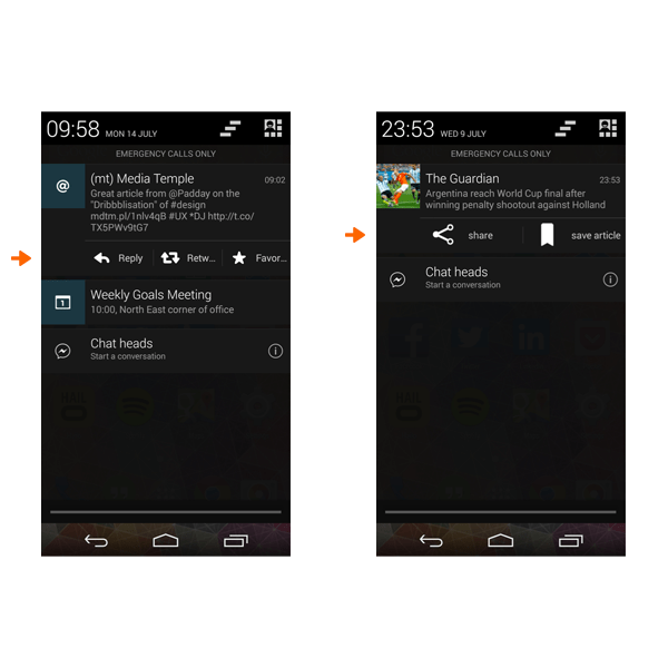 Android screen direct action in notification center
