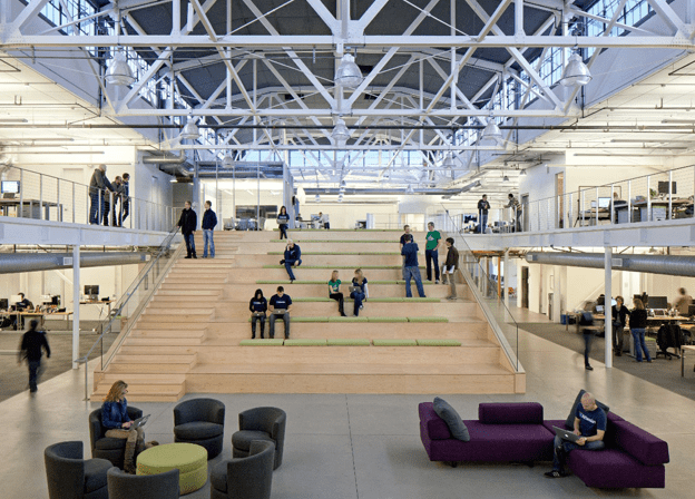 The central space in Atlassian's San Francisco office