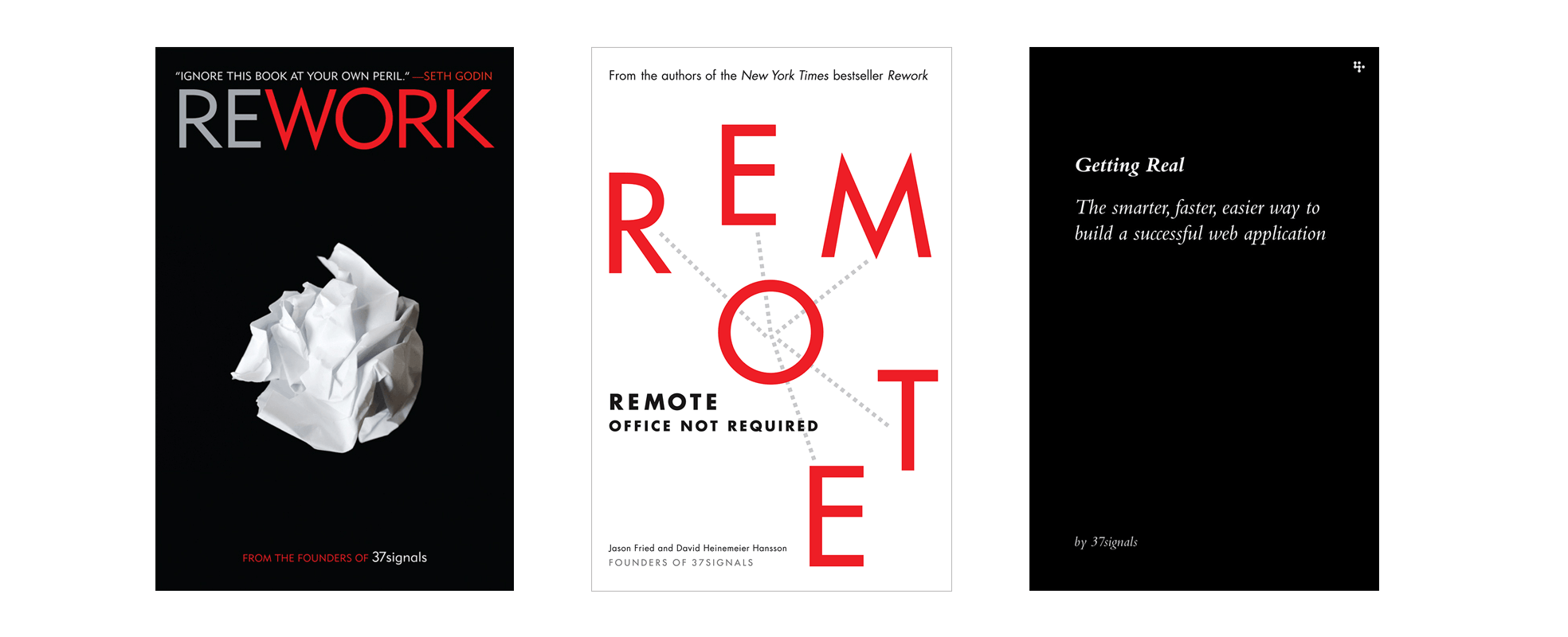 Covers of the 3 books that the Basecamp team have written – Getting Real, Rework and Remote