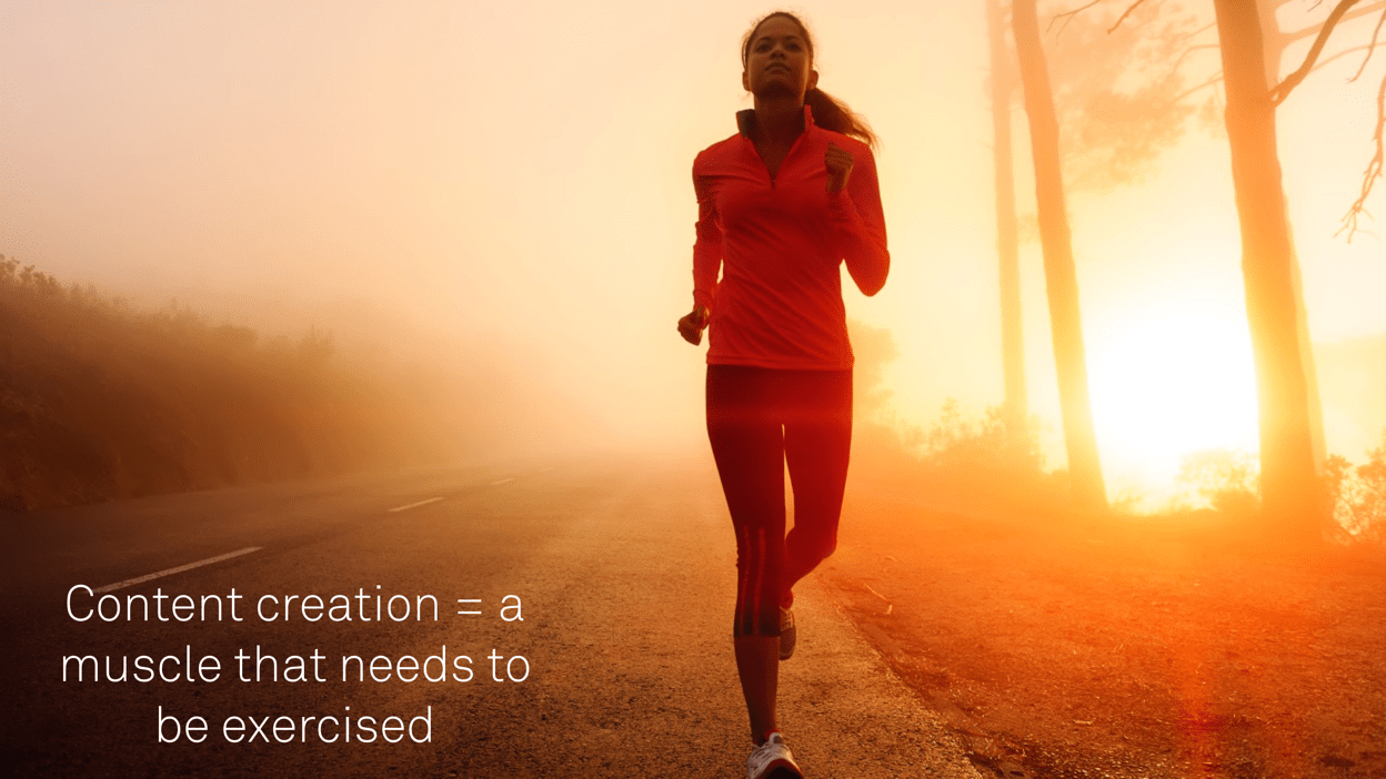 Image of woman running. Content creation is also a muscle that needs to be exercised