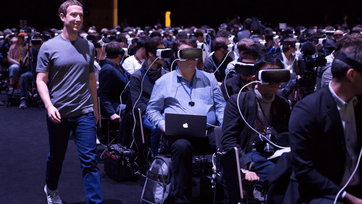 Facebook CEO Mark Zuckerberg at a VR demonstration at the Mobile World Congress trade show