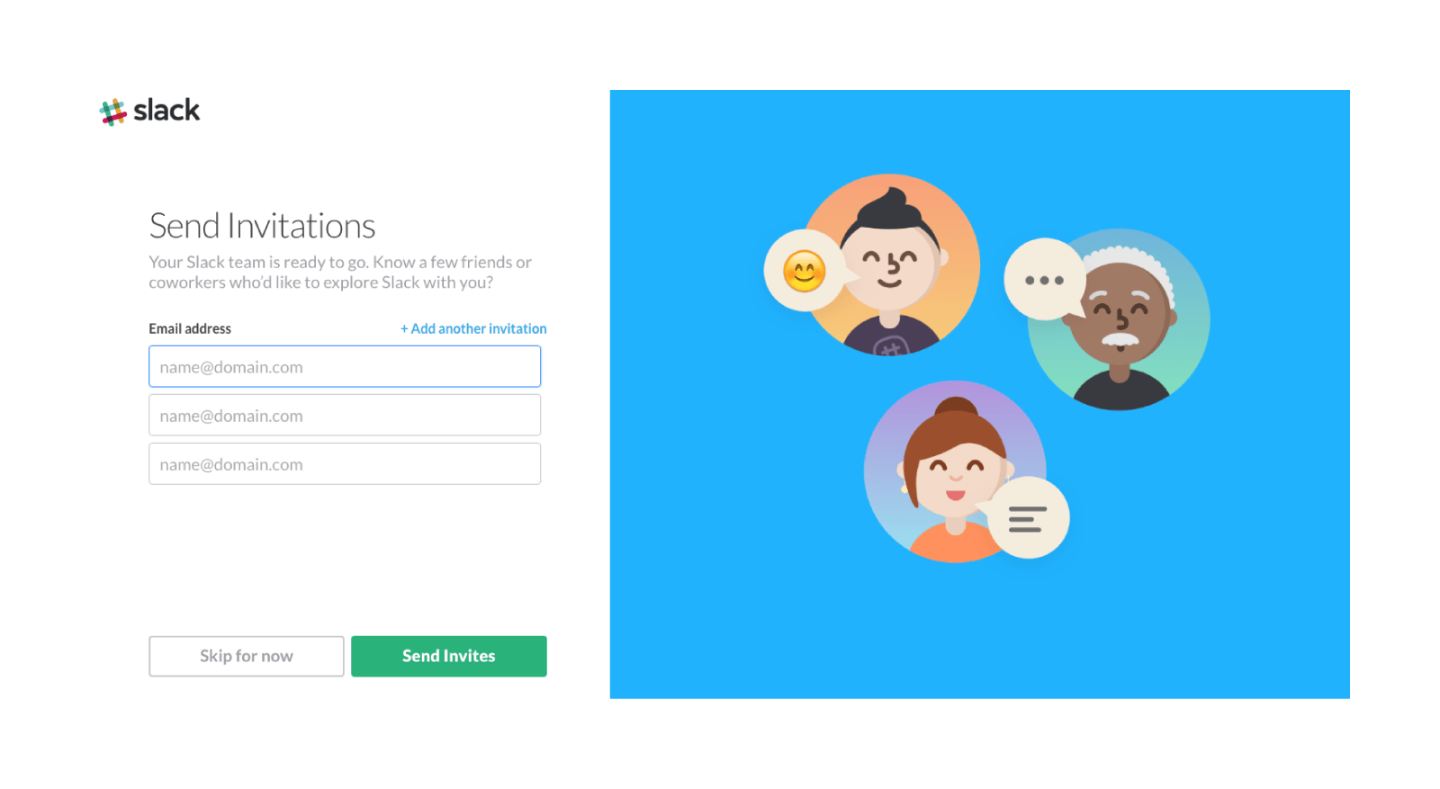 Slack website onboarding invitations for teammates