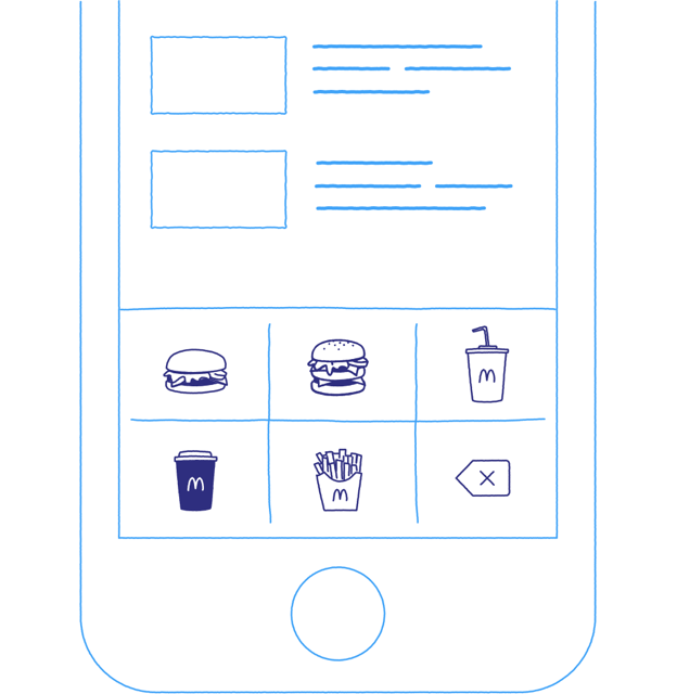 Example of how you might order from McDonald's using a soft-keyboard picture menu