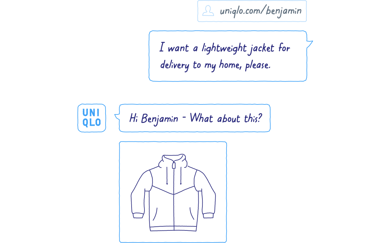 Example of how you might easily be able to buy a new jacket in a messaging interface