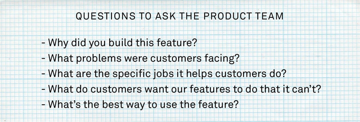 A list of sample questions you should ask your product team