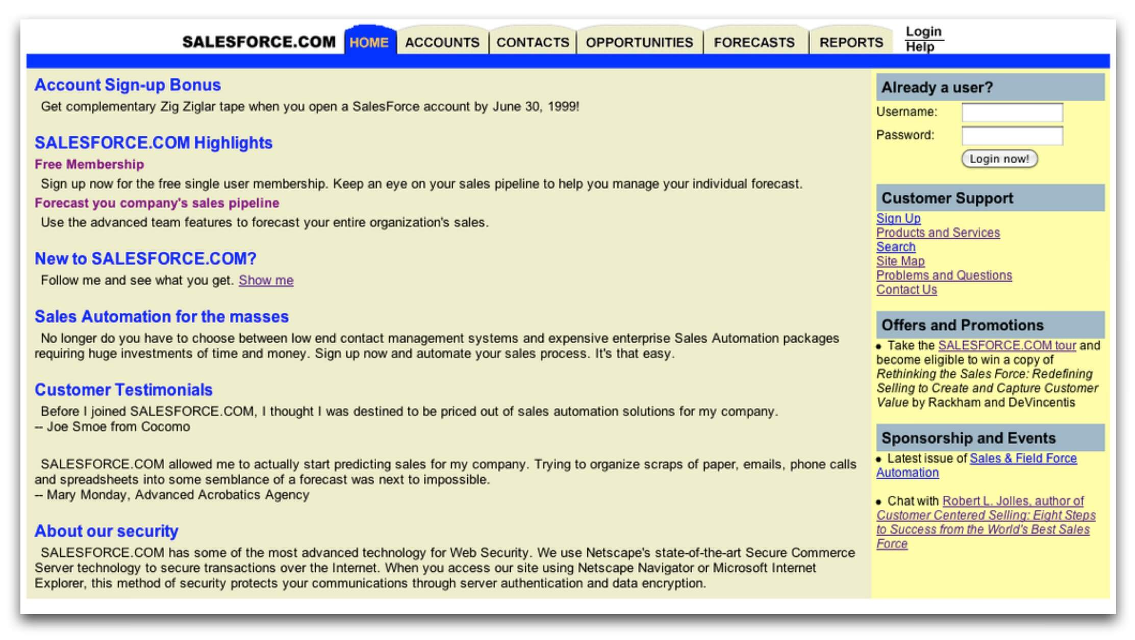 The Salesforce homepage when it launched in 1999