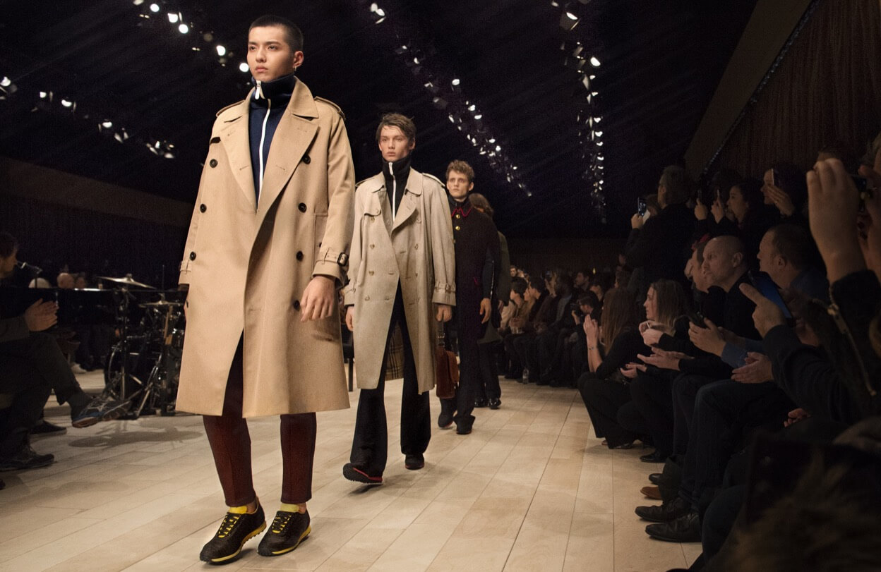 Models on the catwalk at a Burberry fashion show