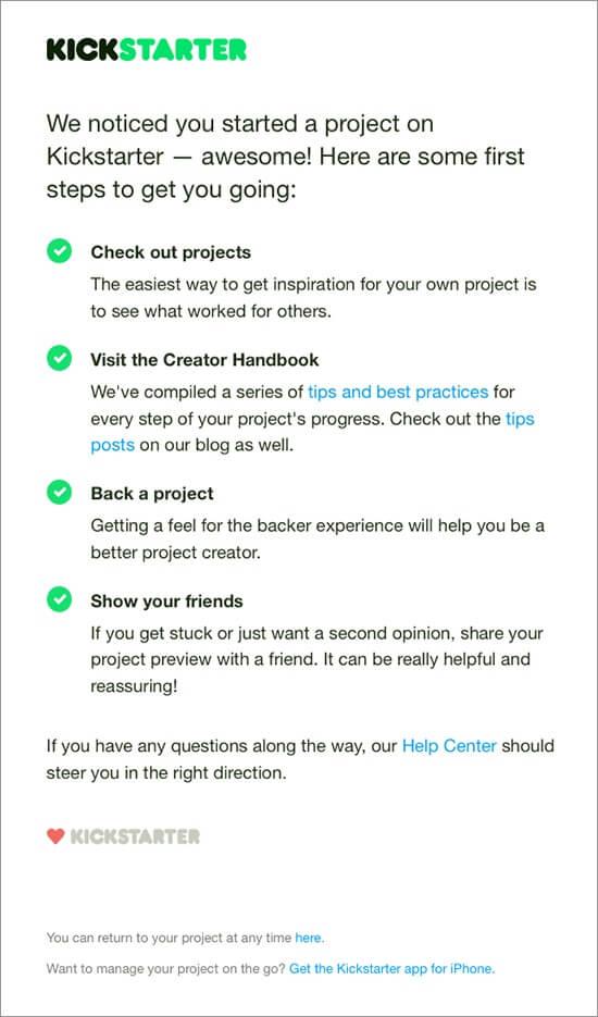 kickstarter onboarding email