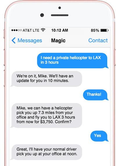 magic messaging app sms interface