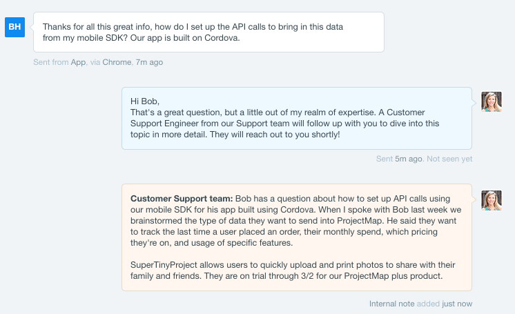 Example of sales-to-support context note