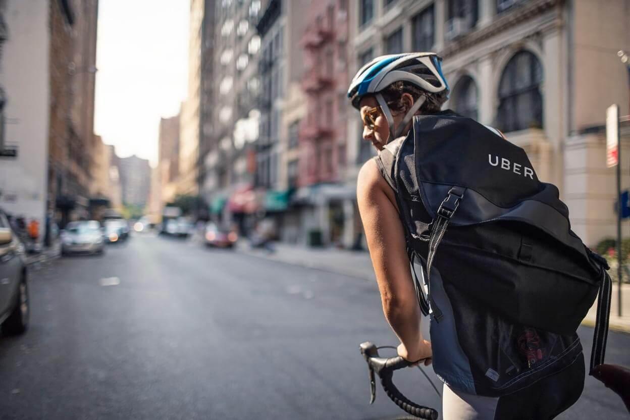 Uber bike courier in New York city