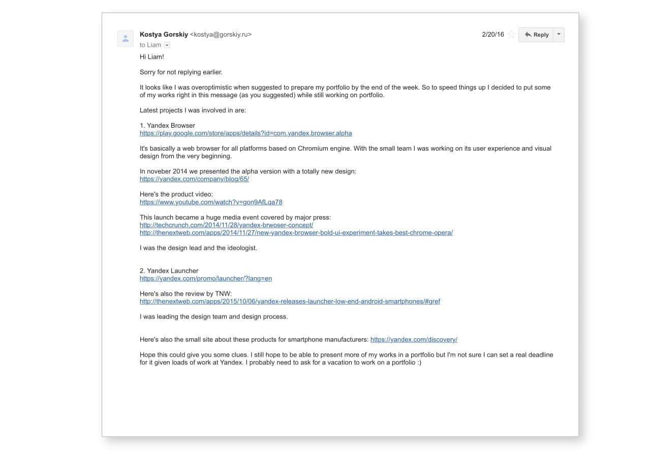 product design portfolio email application