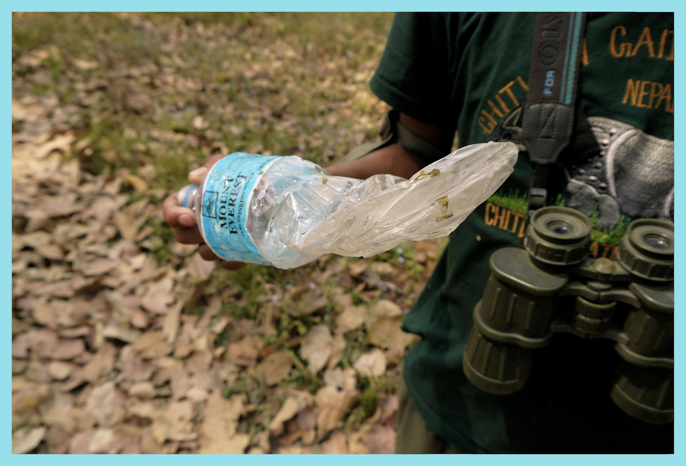 What a rhino does to a water bottle.