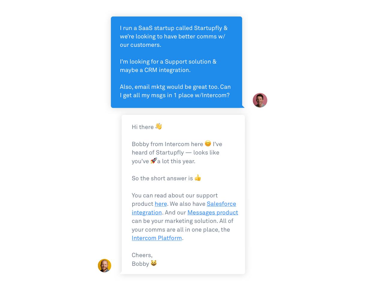 Intercom Live Chat sales conversation emoji