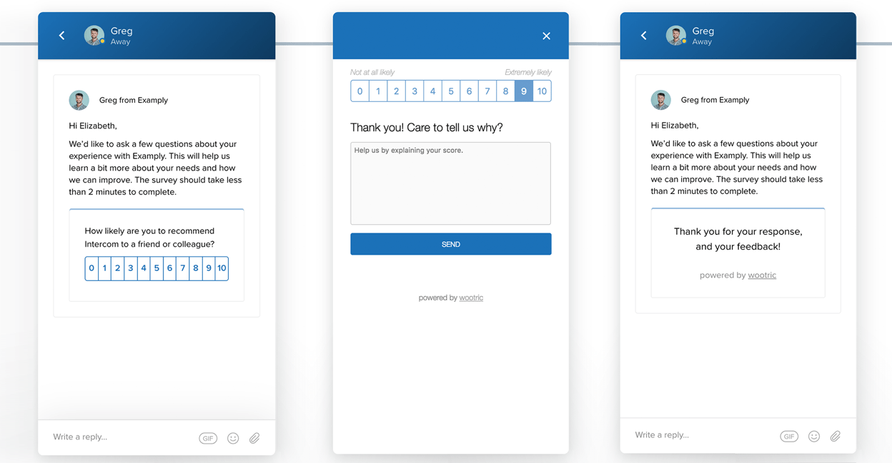 embed customer feedback apps in messages