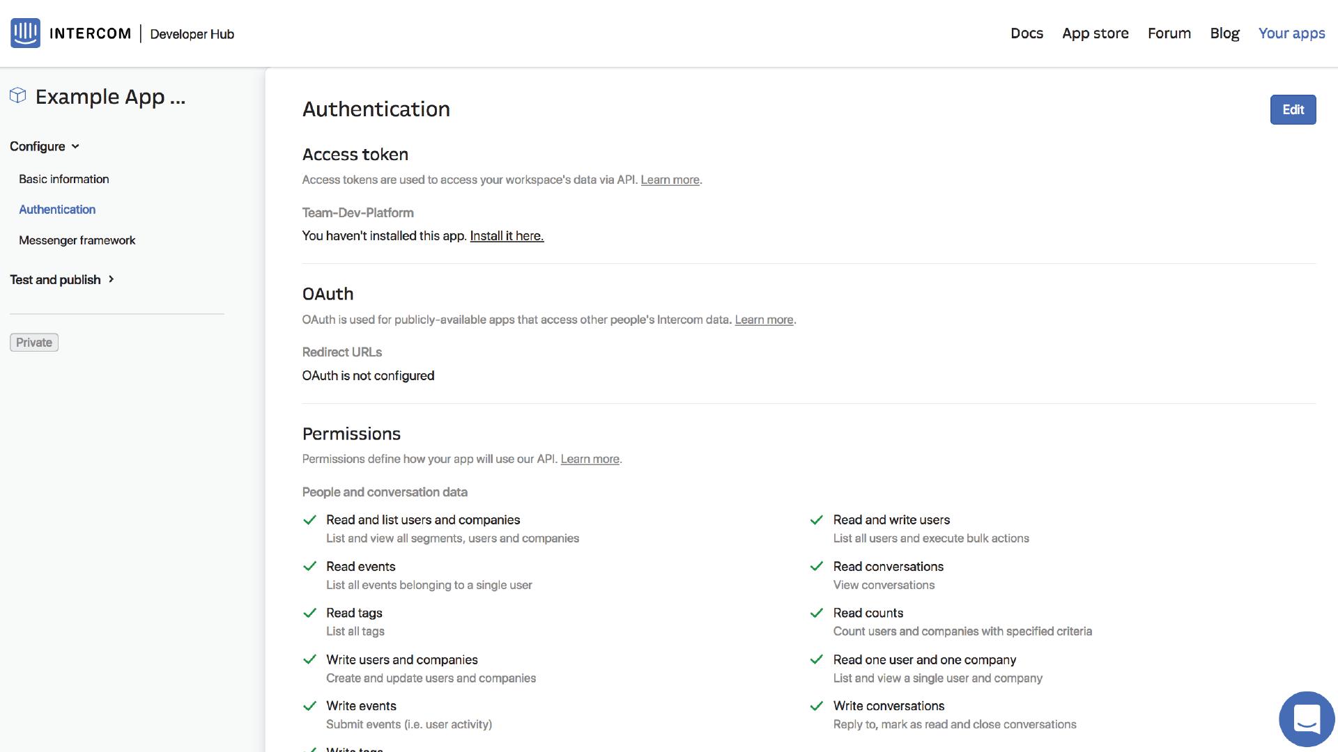 Intercom Developer Hub Authentication
