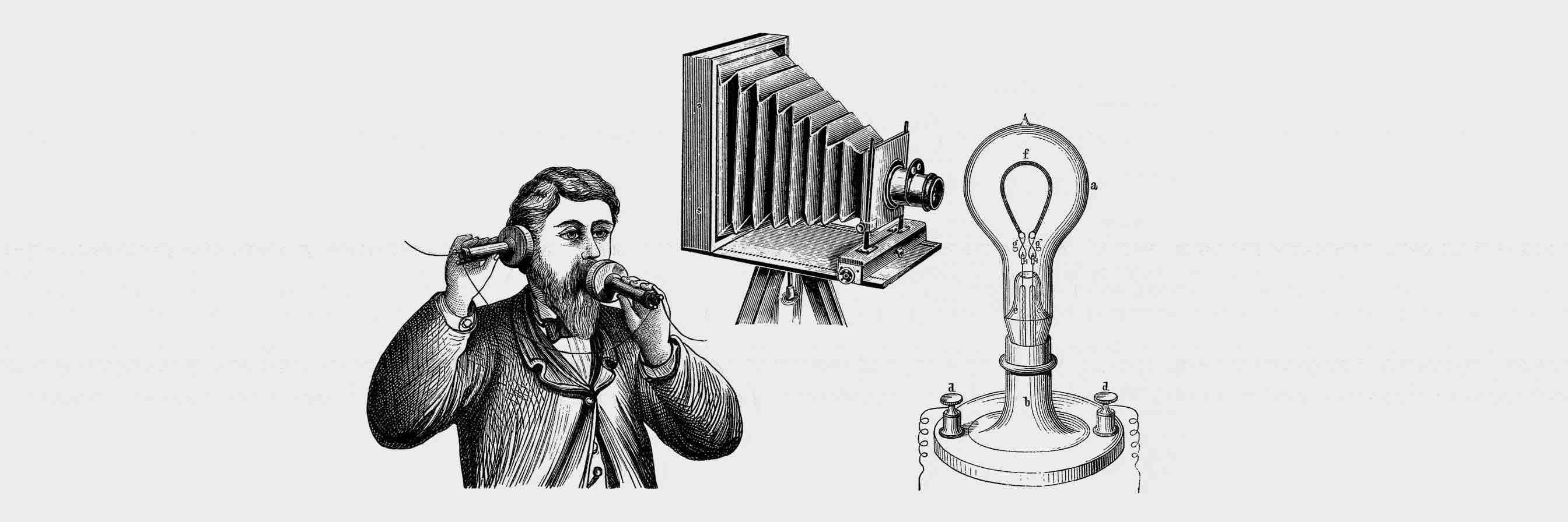 The inventions of the light bulb, camera and telephone