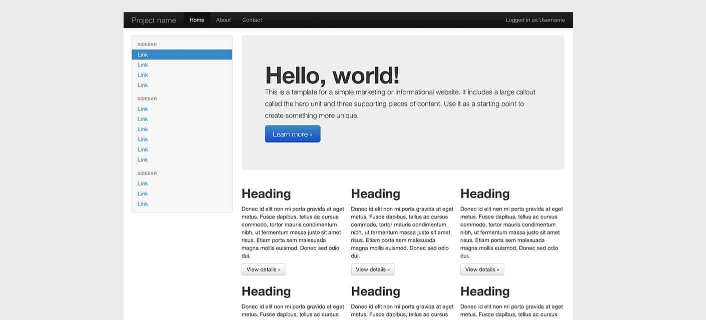 witter Bootstrap, originally created by Mark Otto and Jacob Thornton, 2011
